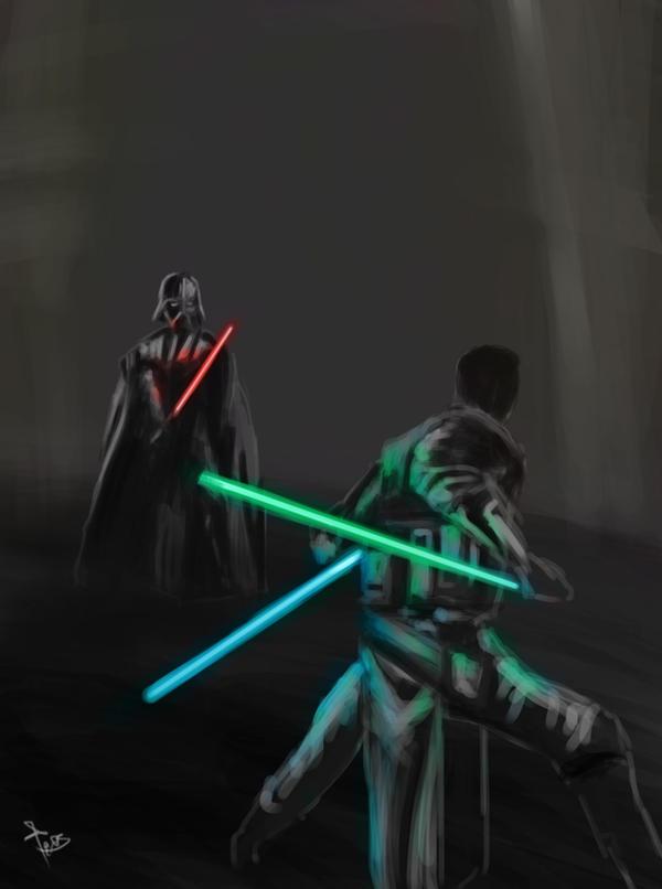 Starkiller VS Vader by z0h3