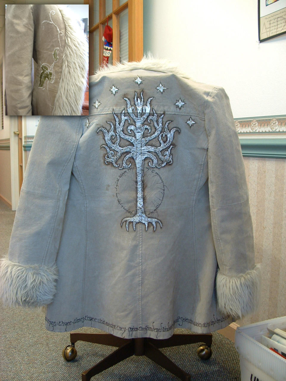 Embroidered White Tree Jacket by littlelea