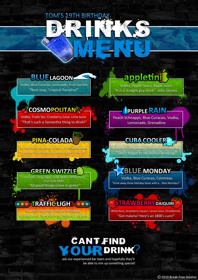 drinks menu design by captain adrastus on deviantart