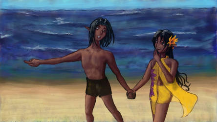 Leander and Valli at the beach.