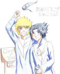 Naruto and Sasuke: graduation by kojika