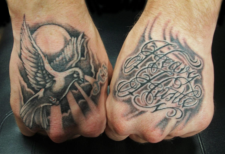 Hand Tattoos Dove and Script