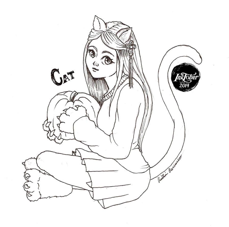 -Inktober 2014/Monster Girl Challenge- 22. Cat by midnightc10