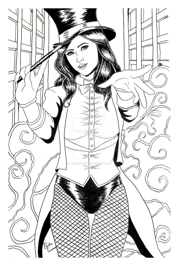 Zatanna Black and White Illustration by midnightc10