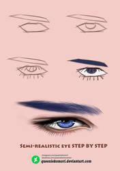 Semi-realistic eye STEP BY STEP 02 by QueenieKomori