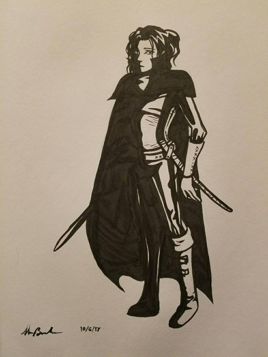 Inktober Day 6 - Sword  by scazrelet