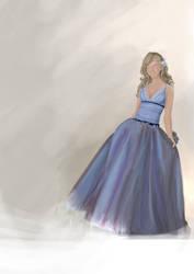 Blue dress Girl Birthday card