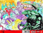 Gundam vs Godzilla Sketch Cover by KomicKarl
