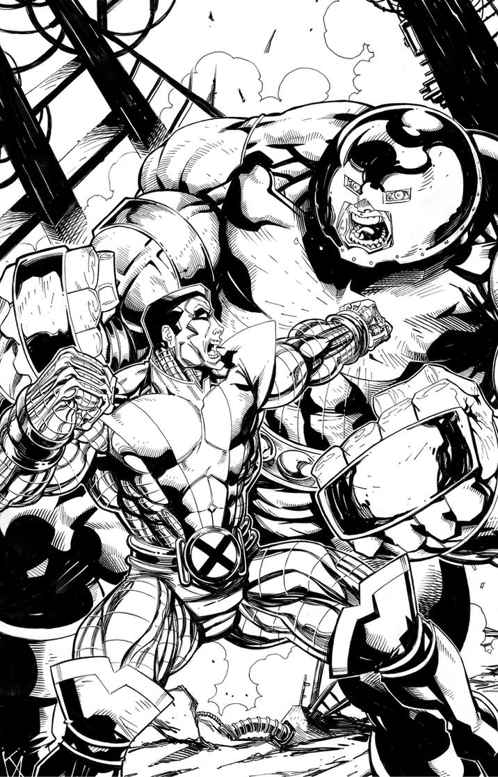 Colossus vs. Juggernaut by KomicKarl