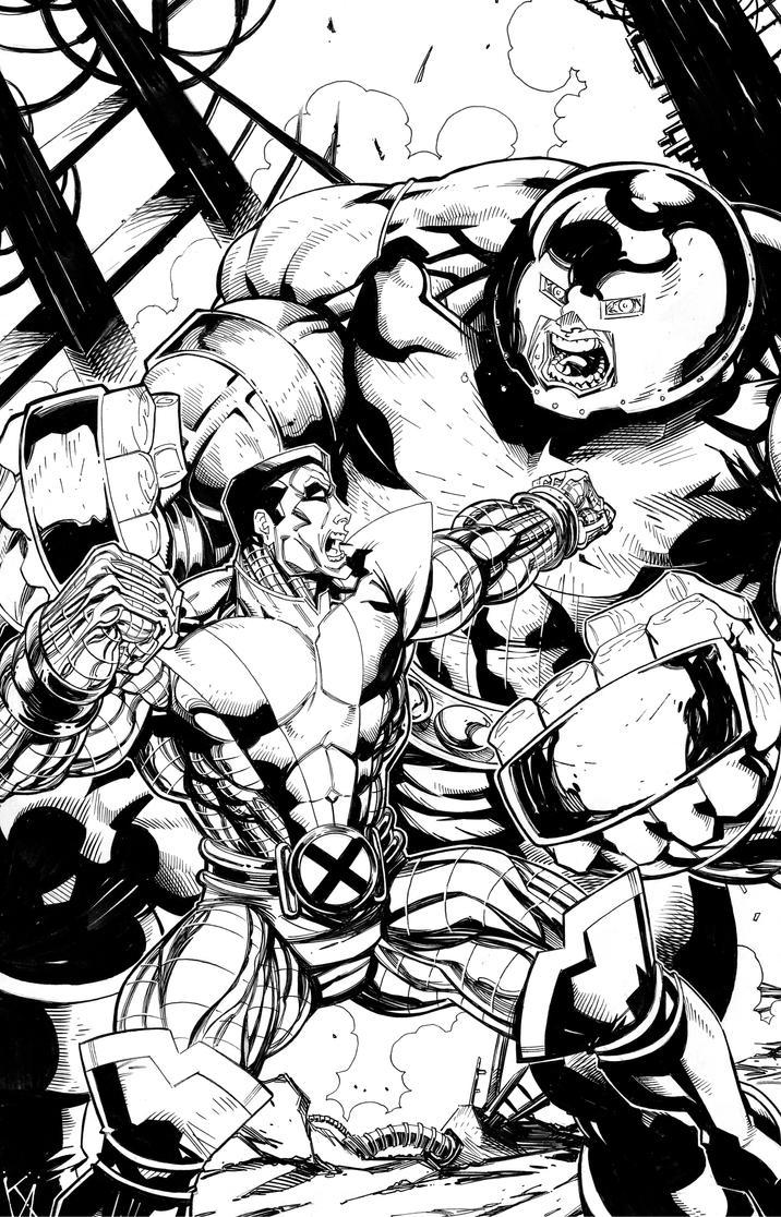Colossus vs. Juggernaut by KomicKarl