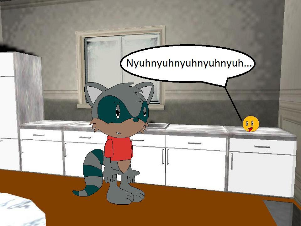 Freddy Raccoon meets the Annoying Orange by YRT9401