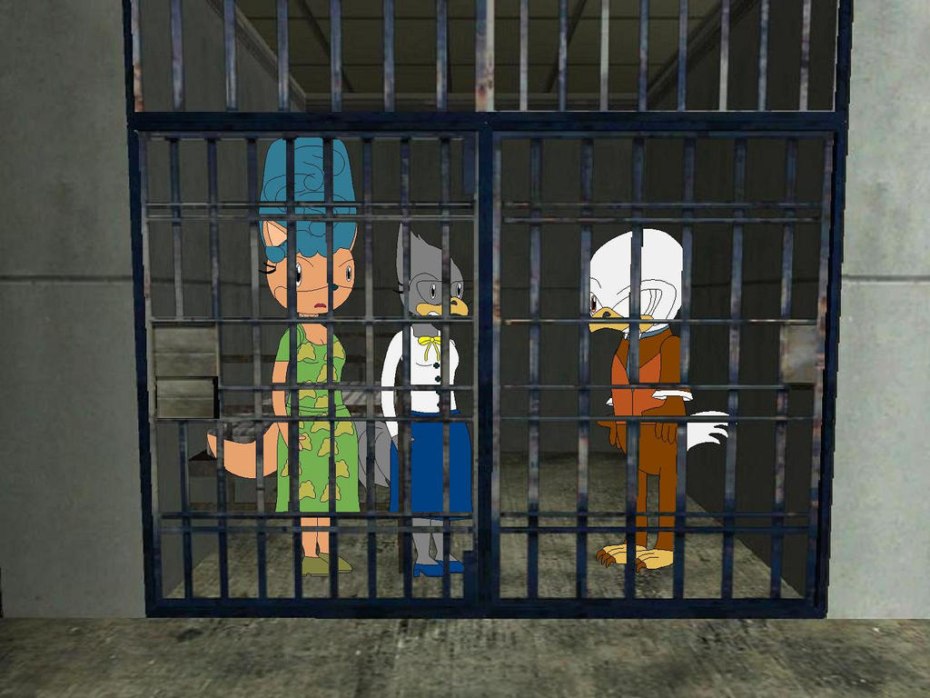 Midas, Mrs. Tabby, and Mrs. Crowley in jail by YRT9401