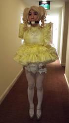 Yellow sissy maid in 'public' bondage by urobolus83