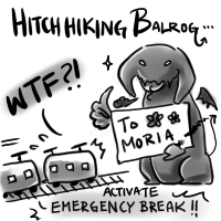 Hitchhiking Balrogs... by kittykatkanie