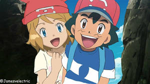 Ash and Serena in Sun and Moon anime.