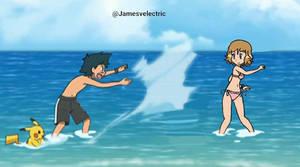 Ash and Serena at the beach.