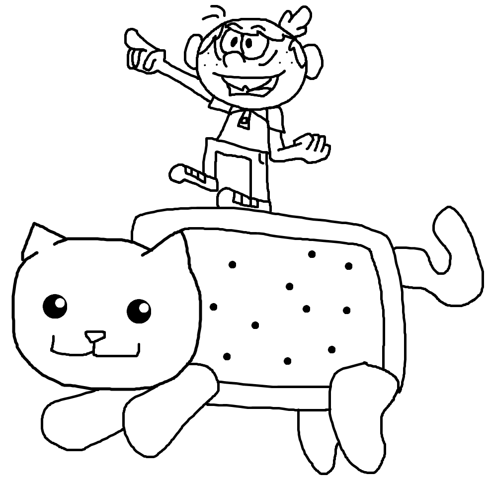 Lincoln Rides Nyan Cat By Greasy LucarioYun
