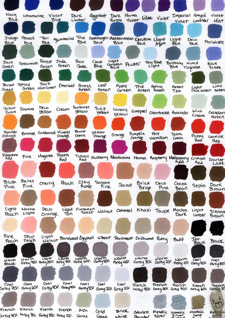 Prismacolor 150 Color Chart