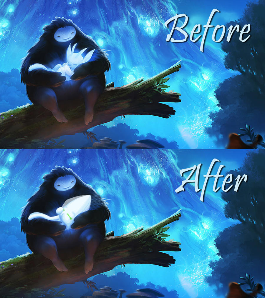 Ori and the Blind Forest Before and After by KatWynn on