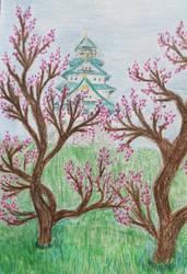 Osaka Castle with Plum Blossoms Colour Pencil