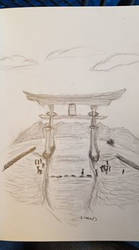 Great Torii Graphite Drawing