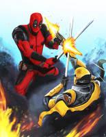 Deadpool Vs Deathstroke by Raprankster