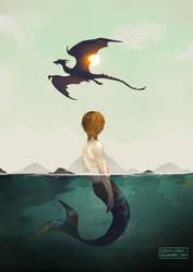 merman and dragon by circus-usagi