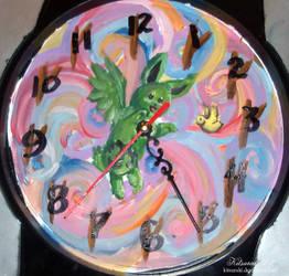 Flying Mint Bunny Clock by Kitsuraki