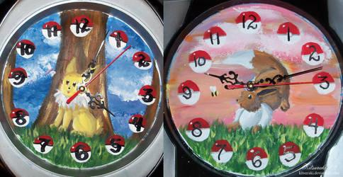 Jolteon And Eevee Clock by Kitsuraki