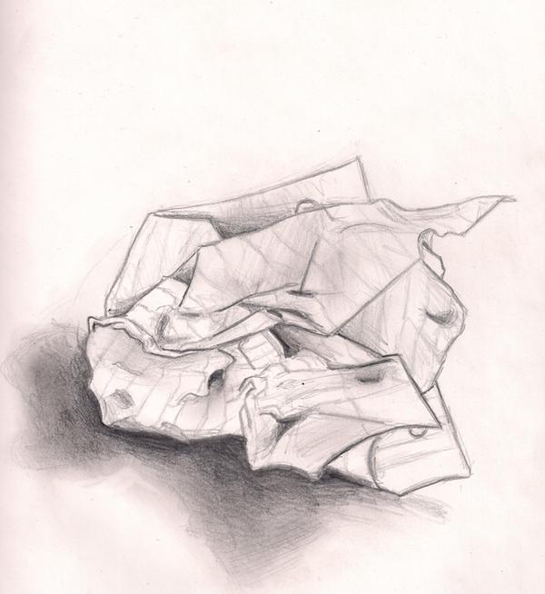 Line Drawing Newspaper : Crumpled paper by renji on deviantart