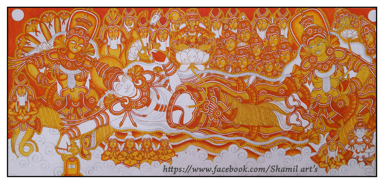 Kerala mural painting ananthasayanam step3 by shamilart on for Mural kerala