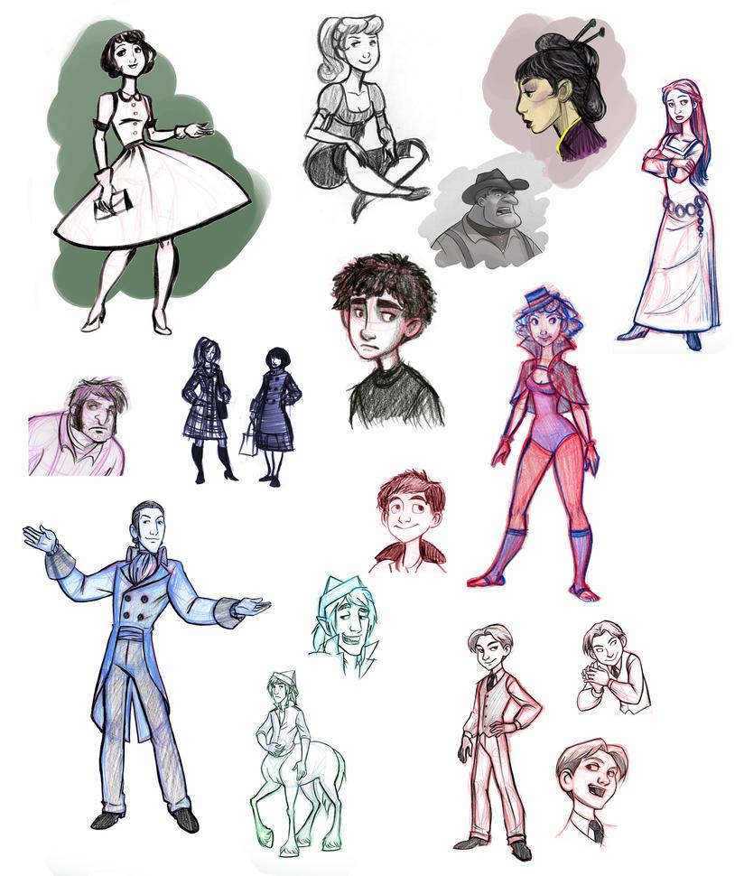 Random Character Sketch Dump by heatherbunny