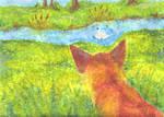 fox pointilism style