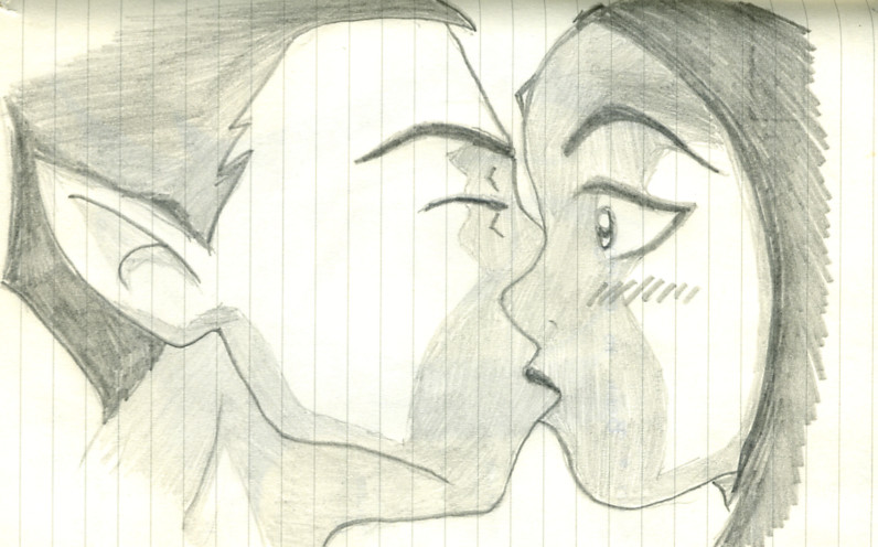 How To Draw Raven And Beast Boy Kissing