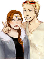Grumpy Artemis and Amused Apollo by Joanna97