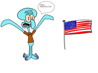 Independence Day with Squidward by MorgsterGolderngirls