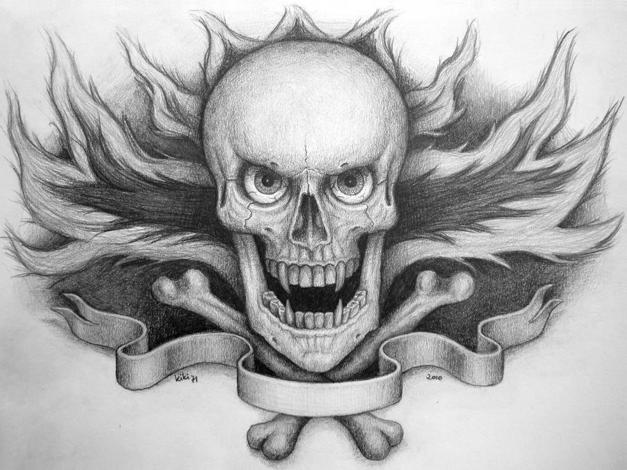 Skull On Fire Tattoo By Kiki71