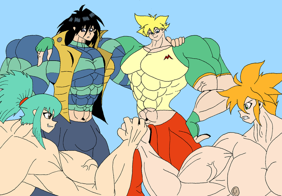 Muscle anime boys team by Godforoth