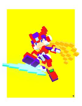 Mega Man Zero 3D Pixel Art