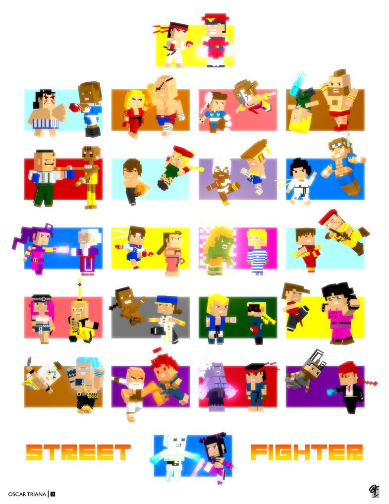 Street Fighter - 3D Pixel Art Versus by elfantasmo