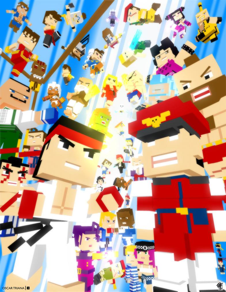 Street Fighter - 3D Pixel Art (Alternative Comp) by elfantasmo