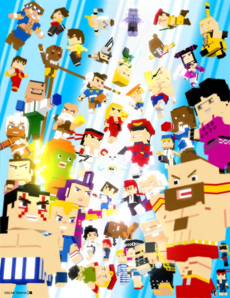 Street Fighter - 3D Pixel Art by elfantasmo