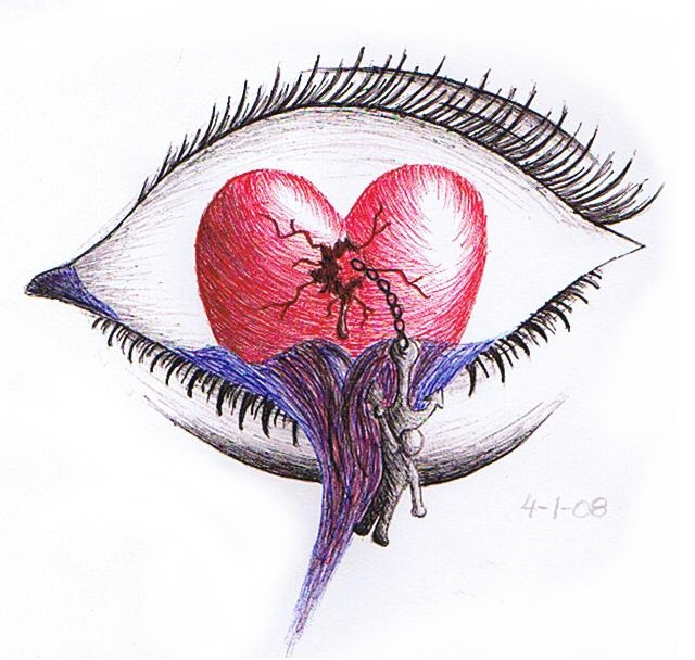 pencil broken heart drawing a broken heart is blind by broken love    Pencil Drawings Of Broken Hearts