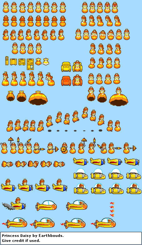 Princess Daisy sprites IV by earthbouds