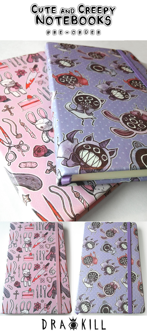 Cute and Creepy Notebook [PRE-ORDER] by DrawKill