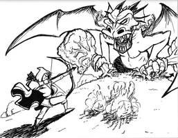 Elf vs dragon sketch by fan4battle
