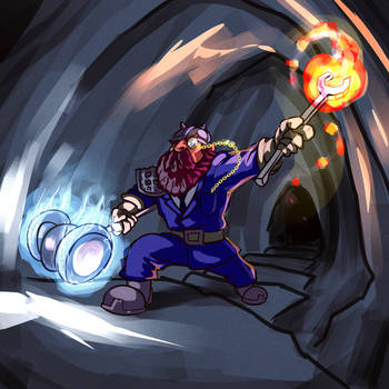 Aristocratic DnD dwarf with magic hammer by fan4battle
