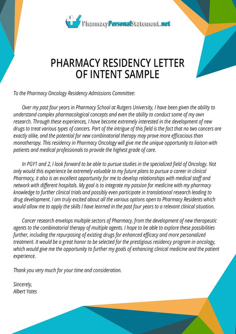 Pharmacy Residency Letter of Intent Sample by PharmacyApplication on ...