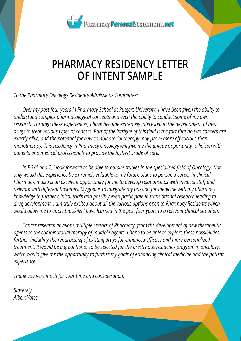 Pharmacy Residency Letter of Intent Sample by PharmacyApplication – Sample Pharmacy Residency Letter of Intent