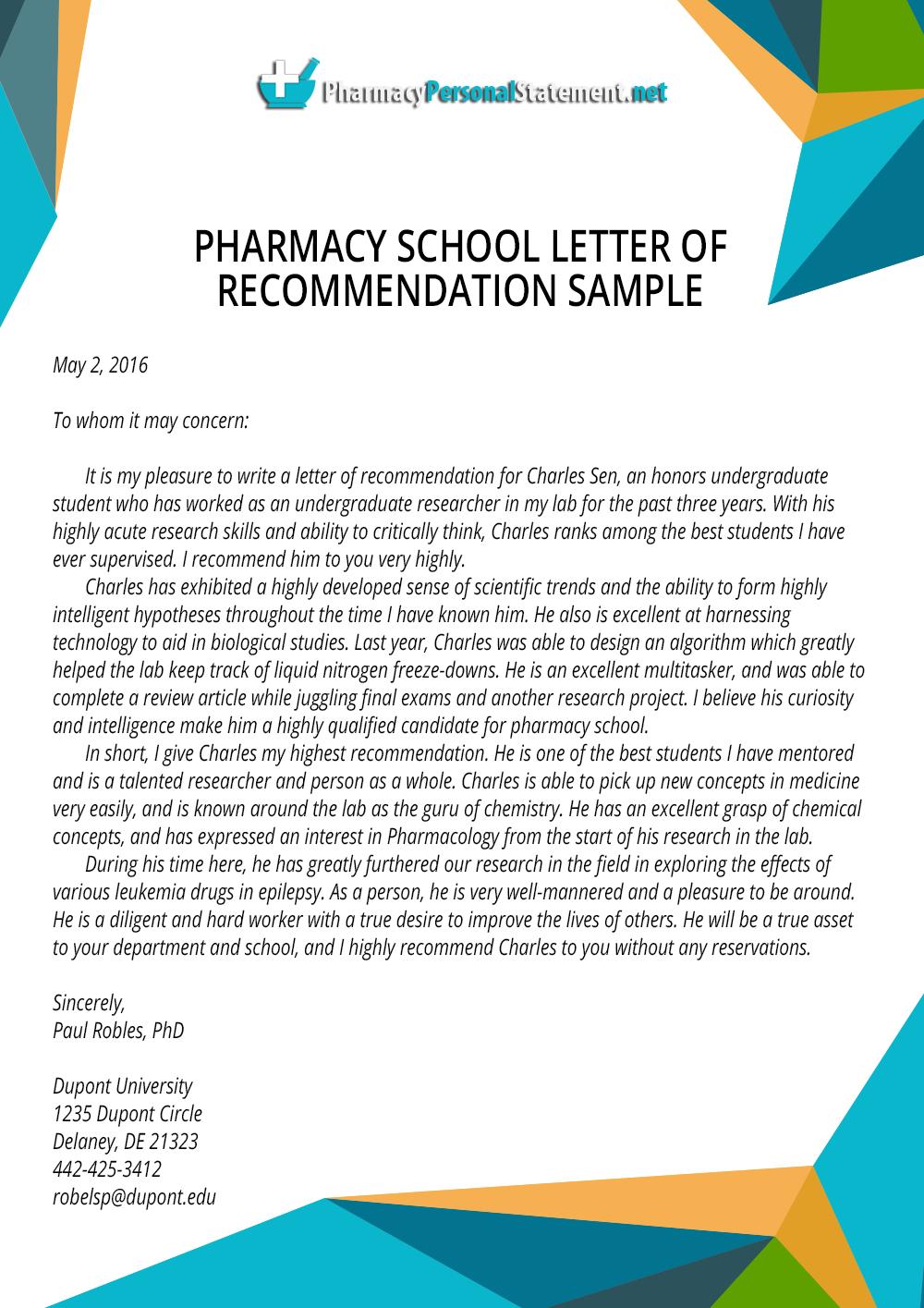 Pharmacy School Letter Of Recommendation By Pharmacyapplication On Deviantart
